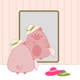 Piggy shopping vector illustration
