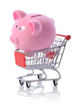 Piggy shopping trolly Stock Image