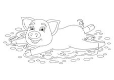 Piggy standing on dirt puddle, coloring book pag Royalty Free Stock Image