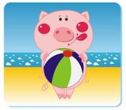 piggy strand stock illustrationer