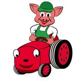 Piggy with Tractor Royalty Free Stock Images