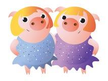 Piggy tvilling- systrar i skinande klänningar Zodiaksymbol stock illustrationer