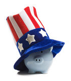 Piggy Uncle Sam Stockbilder