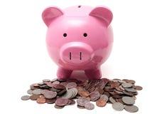 Piggy und Änderung Stockfoto