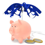 Piggy under the tattered umbrella. And coins on a white background Royalty Free Stock Photo