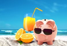 Piggy on vacation at beach Royalty Free Stock Photography