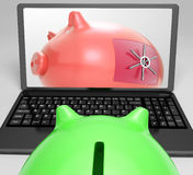 Piggy Vault Closed Shows Locked Savings Royalty Free Stock Photo