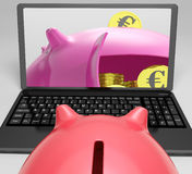 Piggy Vault With Coins Shows Banking Insurance Stock Photos