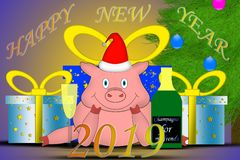 Piggy wishes you good luck in the new year. And financial well-being vector illustration