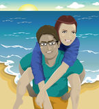 Piggyback couple Stock Photo