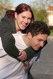 Piggyback ride stock photo