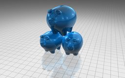 Piggy banking. Idea with three blue piggies Royalty Free Stock Images