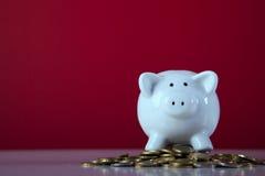 Piggybank über einigen Münzen Stockfotografie