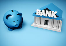 Piggybank. Or money-box and bank building Royalty Free Stock Images
