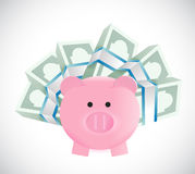 Piggybank around money illustration design Stock Image