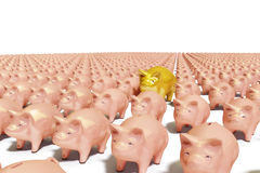 Piggybank array. Array from piggy-bank with a one gold  pig Stock Images