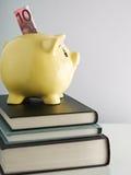 Piggybank auf Stapel der Bücher Stockfotos