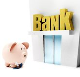 Piggybank at the bank Royalty Free Stock Images