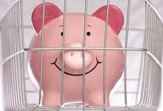Piggybank behind cage Royalty Free Stock Photography