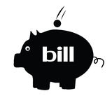 Piggybank for bill illustration silhouette Royalty Free Stock Photography
