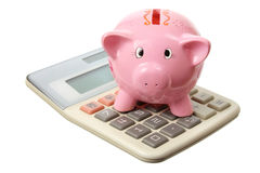 Piggybank and Calculator. On White Background Royalty Free Stock Photo