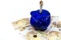 Piggybank on cash Royalty Free Stock Images