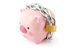Piggybank chained up and locked Royalty Free Stock Photo