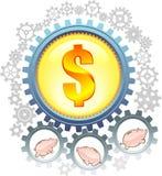 Piggybank Cogs Stock Photo