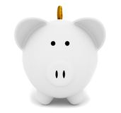 Piggybank with a coin Stock Images