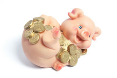 Piggybank with Coins Royalty Free Stock Photos