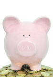 Piggybank and coins Royalty Free Stock Images