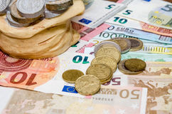 Piggybank, coins and euro Stock Photo