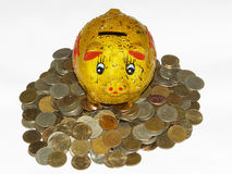 Piggybank with coins Royalty Free Stock Photography