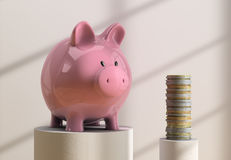Piggybank  and coins. Piggybank and coins standing on bright white room Stock Images