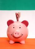 Piggybank com dez euro fotografia de stock