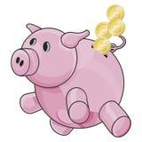 Piggybank con el camino de recortes Fotos de archivo