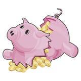 Piggybank con il percorso di residuo della potatura meccanica Immagine Stock