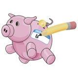 Piggybank con il percorso di residuo della potatura meccanica Immagini Stock