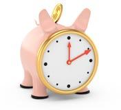 Piggybank con la cara de reloj Imagen de archivo libre de regalías