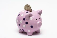 Piggybank con una moneda en ella Fotografía de archivo libre de regalías