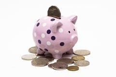 Piggybank con una moneda en ella y alrededor de ella Fotos de archivo