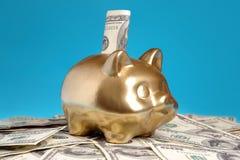 Piggybank de oro Fotografía de archivo libre de regalías