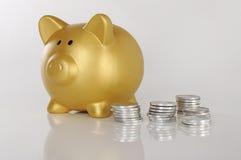Piggybank de oro con las monedas Imagenes de archivo