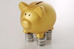 Piggybank de oro con las monedas Fotos de archivo