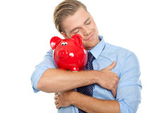 Piggybank de satisfaction Photo libre de droits