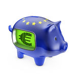 Piggybank do euro do LCD Fotos de Stock Royalty Free