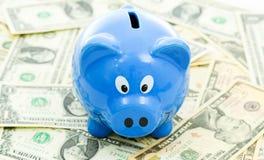 Piggybank on Dollar Royalty Free Stock Photography