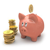 Piggybank and dollar gold coins. Royalty Free Stock Images