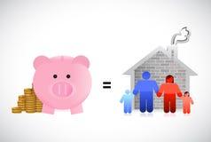 Piggybank en familie het ontwerp van de huisillustratie Royalty-vrije Stock Foto's