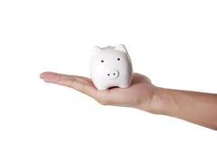 Piggybank en hand Royalty-vrije Stock Fotografie